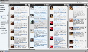 In this screenshot of Seesmic Desktop on my computer, you see groups of journos, friends, and News organizations.