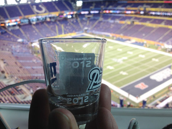 Shot glass at the Super Bowl in Indianapolis.