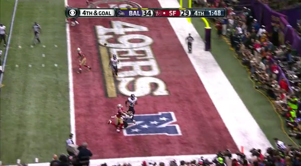 The infamous play; Fourth and goal from the Ravens' 5-yard line. Michael Crabtree was held by Jimmy Smith, essentially ending the game on a non-call.