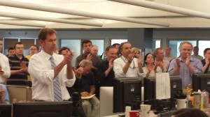 Boston Globe editor Brian McGrory salutes his staff for their work during the Boston Marathon, noting that it was such a trying period.