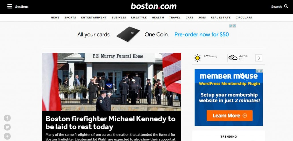 A screenshot of the new mobile site for Boston.com.