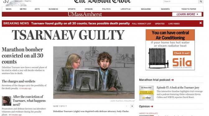 How Boston media approached the Marathon bombing trial guilty verdicts online